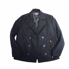 NEW LOVE MOSCHINO BLACK WOOL DOUBLE BREASTED PEA COAT JACKET 44 US LARGE