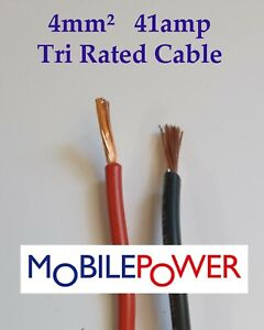 4mm² Tri Rated Panel Auto Camper Cable 41a 12v 240v  Red or Black By the Metre