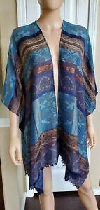Chico's Women's Blue-Multi Lurex Open Front Kimono Topper, OS, S, M, L, XL, 2XL