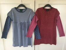 LOT Mini Boden Girls dress top tunic stripes polka dot blue burgundy  Age 9-10