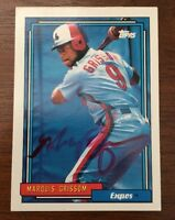MARQUIS GRISSOM 1992 TOPPS AUTOGRAPHED SIGNED AUTO BASEBALL CARD 647 EXPOS