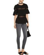 WALTER BAKER $138. NWT Gwen Black Lace-paneled Crepe De Chine Top Blouse Large