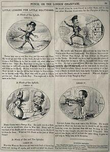 c1845 Antique Victorian Print LITTLE LESSONS FOR THE LITTLE POLITICIANS