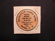 1966 Scotia, New York Wooden Nickel Token - Glenville Town Hall Wood Nickel Coin