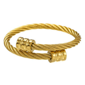Luxury Gold Stainless Steel Twisted Chain Bangle & Bracelet For Men Adjustable