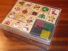 LOT Wooden Stamps set Classic TIMBRES tampon en BOIS pere noel BONHOMME de NEIGE