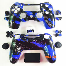 Hydro Dipped Blue Splatter Housing Shell case button mod kit for PS4 Controller