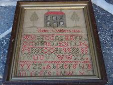Antique Sampler 1832 Vermont Helen Cockburn Needlework Embroidery Framed Dated