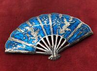 Vintage Sterling Silver Brooch Pin 925 Siam Enamel Fan Blue Pendant
