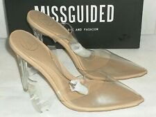 Missguided Perspex Court Nude Shoes Size UK 5 New  with Box