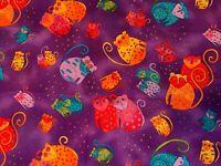 LAUREL BURCH JUNGLE SONGS Fabric  COLORFUL MONKEY ON PURPLE  1/2 YARD