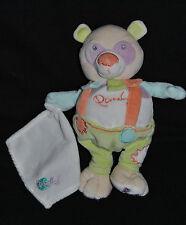 Doudou Panda Mouchoir Blanc BABY'NAT BABYNAT Pandy Vert Orange Mauve 23 Cm NEUF