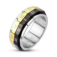 New Mens Ladies Roman Numeral Steel Spin Ring Gold & Black Spinner Unisex (F30)