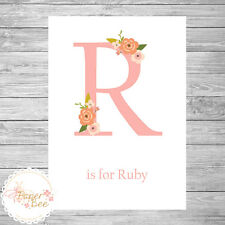 Personalised Pink Floral Initial/Letter/Name Print - Word Art Gift Children Baby