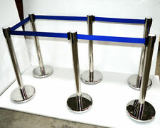 6*Stanchion Posts Queue Pole Retractable Belt Crowd Control Safety Barriers New