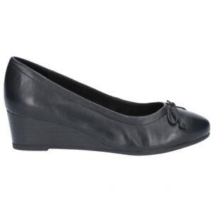 Hush Puppies MORKIE CHARM Ladies Womens Leather Wedge Heel Pump Shoes Black