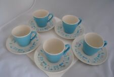 Blue Heaven Royal China Set of 5 Coffee Cups & Saucers Retro Vintage