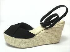 DKNY Womens SHOES ESPADRILLES Sandals CANVAS WEDGE Black RITA US 6.5 EU 37 NICE
