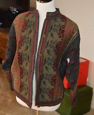 CHERRY LEWIS THICK WOOL SWEATER CARDIGAN JACKET SZ M MADE IN ENGLAND