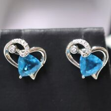 Sterling Silver Blue Aquamarine Earrings Stud Wedding Anniversary Heart Jewelry
