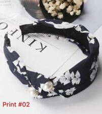 Floral Pearl Hair Band Print 2 Black