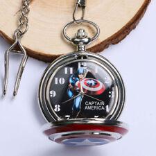 Captain Avenger Shield America Star Pattern Men Quartz Pocket Watch Chain Gift
