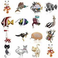 Crystal Pearl Animal Fish Cat Snail Frog Brooch Pin Women Costume Jewelry Gift