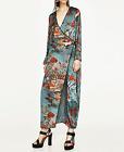 ZARA WOMAN PRINTED KIMONO DRESS SKY BLUE S,M,L REF. 2912/987