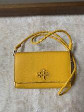 NWT - $328 TORY BURCH 55442 Women's Taylor Flat Wallet Cross Body Leather Yellow