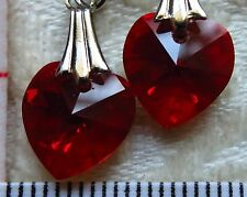 Handmade Earrings using SWAROVSKI element 1cm AB Crystal heart Dark Siam CA1