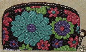 Women's, Teens or Girls Zippered Wallet Coin Purse-Floral w/Black