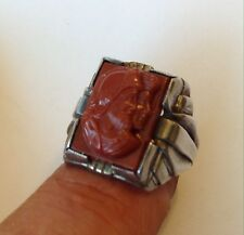 VINTAGE STERLING SILVER CARNELIAN ROMAN SOLDIER CARVED CAMEO MENS RING SIZE 10