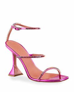 NIB $1035 Amina Muaddi Gilda Hologram Crystal Sandals Shoes - Sz 9 B / 39 EU