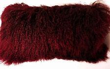 Mongolian Lamb Fur Pillow Burgundy New made in usa Real Tibet cushion Tibetan