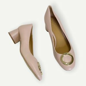 NEW TORY BURCH Caterina Round Toe Embellished Leather Pumps In Sea Shell Pink, 8