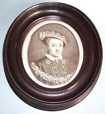 GEORGIAN PORTRAIT MINIATURE PRINT EDWARD VI HOLBEIN SHERWIN FRUITWOOD FRAME 1788