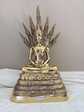 "Bronze Buddha Statue w/ Snake (Naga) Background - Large -15.5""- Thai - Thailand"