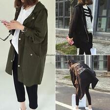 Stylish Womens Casual Hooded Long Coat Jacket Trench Windbreaker Outwear Black L