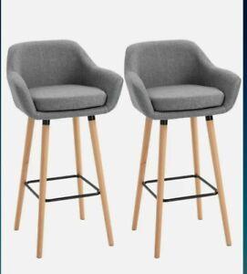 ^  Modern Light Grey Linen Upholstered Set Of 2 Home Bar Stools Kitchen  35!21