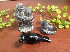MIXED LOT Soapstone Eskimo Sculpture & SEAL by Wolf SCULPTURE + BLACK STONE SEAL