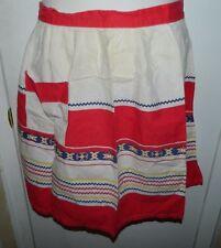 Vintage Mid Century Multi-Color Southwestern Design Cotton Blend Apron
