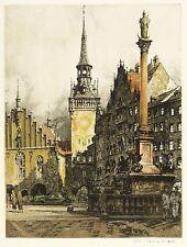 MÜNCHEN - Marienplatz - Rudolf Veit - Farbradierung 1930