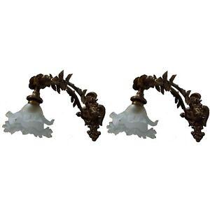 2 Antique Patina Replica Brass French Empire Wall Sconces Light Fixtures