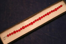 "Beautiful Bracelet With Red Quatz 8"" Inches Long With Silver Clasps In Gift Box"