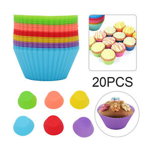 20x Cupcake Case DIY Bake Mold Silicone Muffin Baking Mould Round Cup Cake