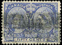 1897 Used Canada 50c F+ Scott #60 Diamond Jubilee Stamp