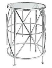 Beistelltisch Couchtisch Metalltisch Glastisch Metall/Glas Farbe: Antik-Silber