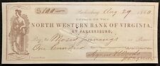 1860 *PRE CIVIL WAR* ~NORTH WESTERN BANK OF VIRGINIA~ $100 VIGNETTE BANK CHECK!