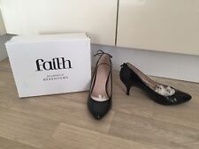 SIZE 6 KITTEN HEELS SHOES LOW HEEL FAITH WOMENS WORK OFFICE BOW BLACK DEBENHAMS