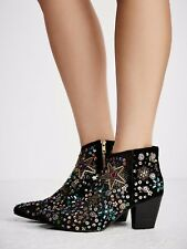 NEW  Free People Night Out Black Embellishments Ankle Boot ☮ Size 38